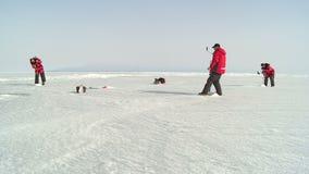 Pesca del hielo del invierno almacen de video