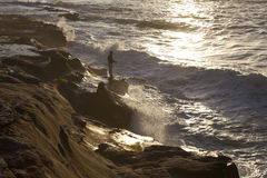 Pesca del hombre en San Diego Fotografía de archivo