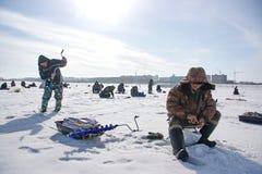 Pesca del invierno Imagen de archivo libre de regalías