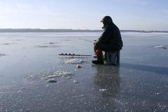 Pesca del invierno Imagenes de archivo