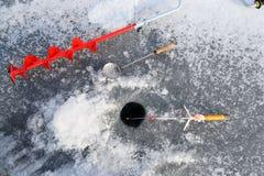 Pesca del invierno Fotografía de archivo