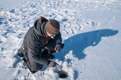 Pesca del invierno Fotos de archivo libres de regalías