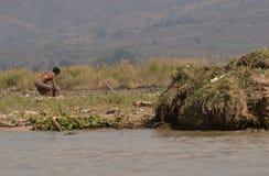 Pesca del Myanmar Fishman fotografia stock