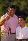 Pesca del nonno e del ragazzo Fotografia Stock