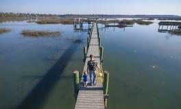 Pesca del padre y del hijo Fotografía de archivo libre de regalías