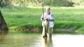 Pesca del pescador almacen de video