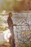 Pesca del pescador con el giro Fotografía de archivo