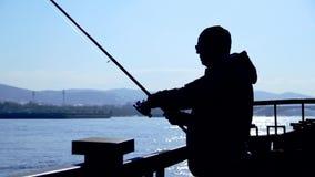 Pesca del pescador con el giro, silueta metrajes