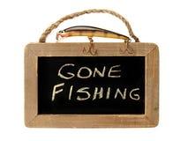 Pesca del richiamo in cima al andato a pescare segno Fotografia Stock
