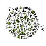 Pesca del sistema, bosquejo para su diseño Imágenes de archivo libres de regalías