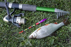 Pesca del verano en el lago con una caña de pescar Fotografía de archivo
