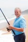 Pesca dell'uomo anziano Fotografia Stock Libera da Diritti