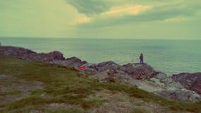Pesca dell'uomo, mare Immagine Stock