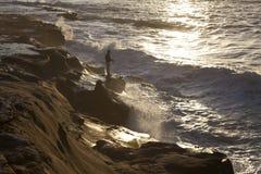 Pesca dell'uomo a San Diego Fotografia Stock