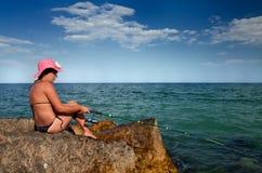 Pesca della donna Immagini Stock Libere da Diritti