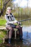 Pesca della donna Immagini Stock