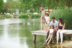 Pesca della famiglia Fotografie Stock
