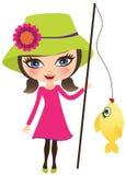 Pesca della ragazza Immagini Stock