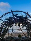 Pesca della trappola di vimini thailand fotografia stock