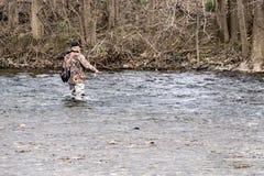 Pesca della trota Fotografia Stock