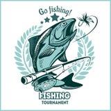Pesca della trota - illustrazione di logo Emblema di pesca Fotografie Stock Libere da Diritti