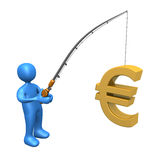 Pesca di affari - euro Fotografia Stock Libera da Diritti