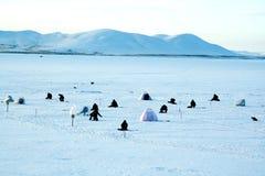 Pesca di inverno Fotografia Stock