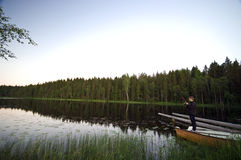 Pesca di lago immagine stock