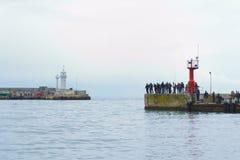 Pesca di massa sulla passeggiata Fotografie Stock Libere da Diritti