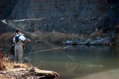 Pesca di mosca Fotografie Stock