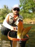 Pesca di mosca in acque calme Immagini Stock Libere da Diritti