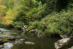 Pesca di mosca della ragazza Fotografia Stock Libera da Diritti
