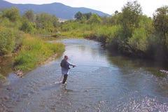 Pesca di mosca sulla gallatina orientale fotografia stock