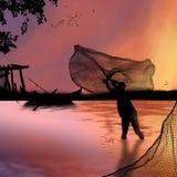 Pesca di notte Fotografia Stock Libera da Diritti