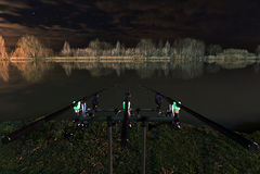 Pesca di notte, carpa Rohi, fine sulle canne da pesca, riflessione di Nightscape sul lago Fotografia Stock