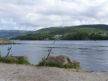 Pesca di Saltstraumen nei fiordi Un posto popolare di pesca Fotografia Stock Libera da Diritti