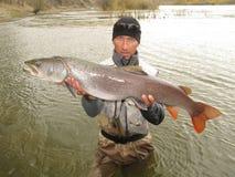 Pesca di Taimen Fotografia Stock