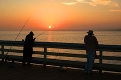 Pesca di tramonto Fotografie Stock