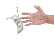 Pesca do dinheiro no fundo branco com o trajeto de grampeamento incluído Imagens de Stock Royalty Free