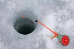 Pesca do gelo Fotografia de Stock Royalty Free