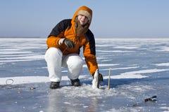Pesca do gelo. foto de stock