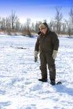 Pesca do gelo: Vertical Imagens de Stock Royalty Free