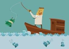 Pesca do homem de negócios para o dinheiro ilustração stock