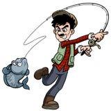 Pesca do homem dos desenhos animados ilustração stock