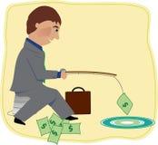 Pesca do homem para o dinheiro Fotos de Stock