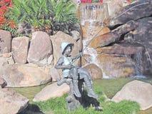 Pesca do melhor amigo do menino & do homem---Arte do metal Imagens de Stock Royalty Free