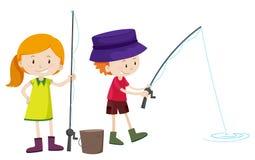 Pesca do menino e da menina Imagem de Stock Royalty Free