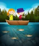 Pesca do menino e da menina no lago ilustração royalty free