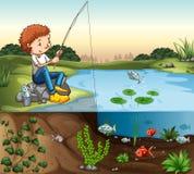 Pesca do menino pelo rio Foto de Stock