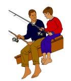 Pesca do pai e do filho Fotos de Stock Royalty Free